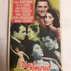 Coleccionismo de carteles: TRES AMORES ANTIGUO DOLLETO DE MANO PROGRAMA DE CINE. Lote 194991237