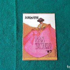Coleccionismo de carteles: PROGRAMA PLAZA DE TOROS DE MADRID (1987). Lote 195020840