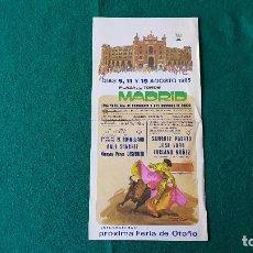 Coleccionismo de carteles: PROGRAMA PLAZA DE TOROS DE MADRID (1985) LAS VENTAS. Lote 195021523