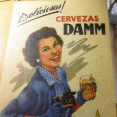 Coleccionismo de carteles: PEQUEÑO CARTEL LAMINA EN CARTON DELICIOSAS CERVEZAS DAMM 17 / 25 CM. Lote 195057426