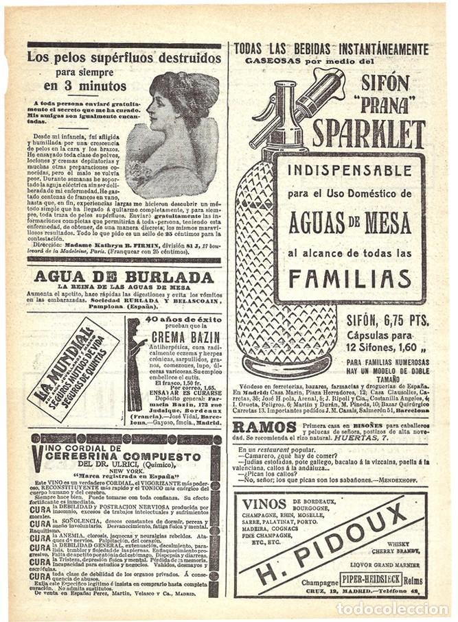 1911 HOJA REVISTA PUBLICIDAD ANUNCIO SIFÓN 'PRANA' SPARKLET (Coleccionismo - Carteles Pequeño Formato)