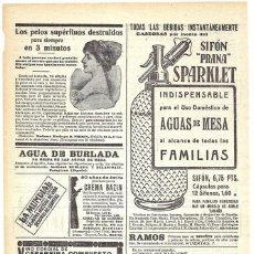 Coleccionismo de carteles: 1912 HOJA REVISTA PUBLICIDAD ANUNCIO SIFÓN 'PRANA' SPARKLET. Lote 195120436