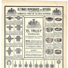 Coleccionismo de carteles: 1912 HOJA REVISTA PUBLICIDAD ANUNCIO RECORTE PRENSA JOYERÍA 'EL TRUST' SORTIJAS PENDIENTES ORO DIAMA. Lote 195121566