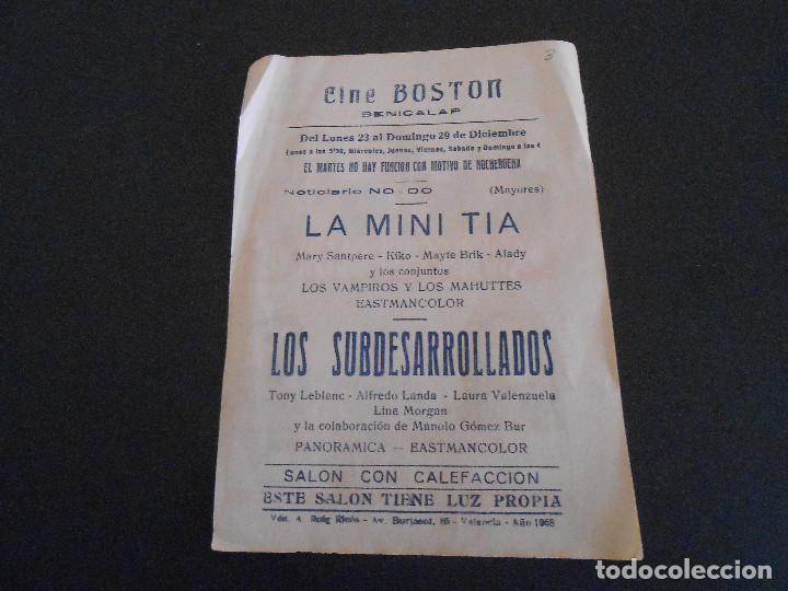Coleccionismo de carteles: FOLLETO DE PROGRAMA DE LA PELÍCULA LOS SUBDESARROLLADOS - Foto 2 - 195146430