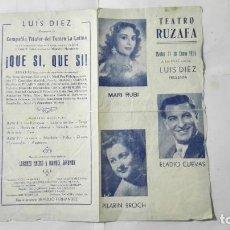 Coleccionismo de carteles: PROGRAMA TEATRO RUZAFA, ENERO 1955, LUIS DIEZ PRESENTA, MARI RUBI, ELADIO CUEVAS Y PILARIN BROCH. Lote 195199611
