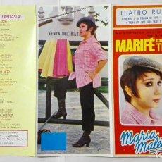 Coleccionismo de carteles: PROGRAMA TEATRO RUZAFA, VALENCIA AÑO 1971, MARIFE DE TRIANA PRESENTA MARIA MALETILLA. Lote 195201336
