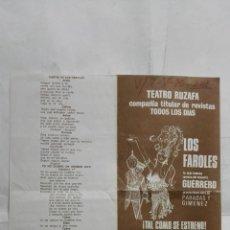 Coleccionismo de carteles: PROGRAMA TEATRO RUZAFA, VALENCIA AÑO 1970, LOS FAROLES, REVISTA DEL MAESTRO GUERRERO. Lote 195201785