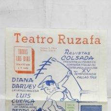 Coleccionismo de carteles: PROGRAMA TEATRO RUZAFA, FALLAS 1968, ESTRENO VALERIANO TIENE ESO, CON DIANA DARVEY, LUIS CUENCA. Lote 195202551