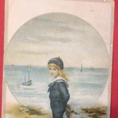 Coleccionismo de carteles: ANTIGUO CROMO CHOCOLATE JUNCOSA, NIÑA CON TRAJE DE MARINERO. Lote 195267752