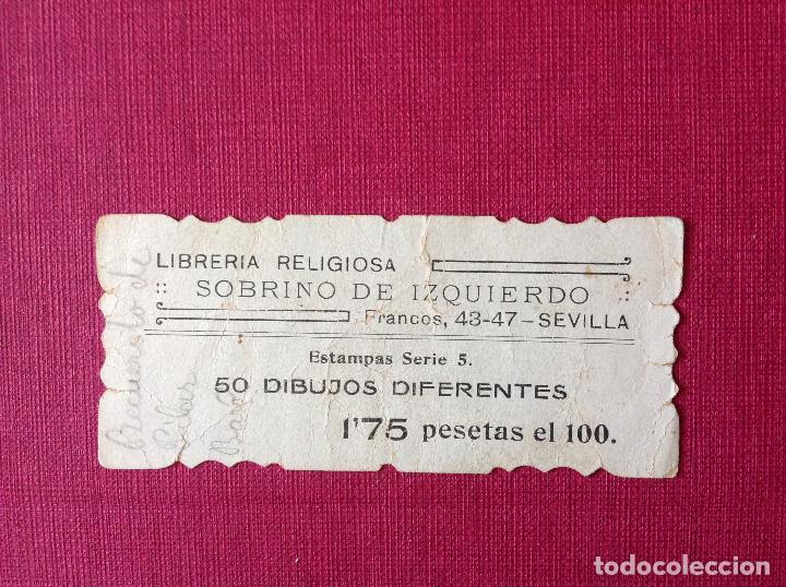 Coleccionismo de carteles: Antiguo cartelito con publicidad. Librería religiosa. Sobrino de Izquierdo. Sevilla - Foto 2 - 195317456