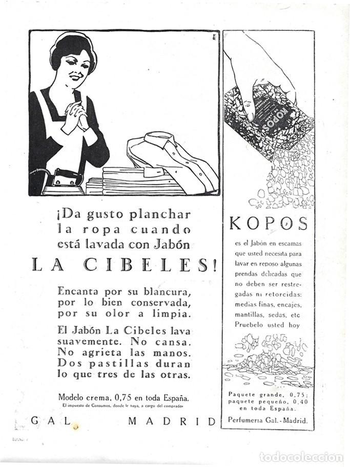 1928 HOJA REVISTA PUBLICIDAD ANUNCIO DE PRENSA JABÓN PARA LA ROPA LA CIBELES Y KOPOS PERFUMERÍA GAL (Coleccionismo - Carteles Pequeño Formato)