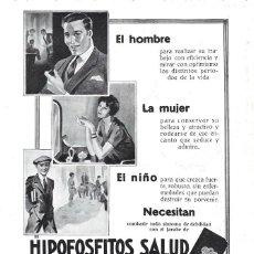 Coleccionismo de carteles: 1928 HOJA REVISTA PUBLICIDAD ANUNCIO DE PRENSA FARMACIA RECONSTITUYENTE HIPOFOSFITOS SALUD. Lote 195322495