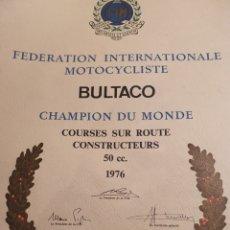 Coleccionismo de carteles: CARTEL BULTACO. CAMPEON DEM MUNDO 1976. CEMOTO.. Lote 195326871