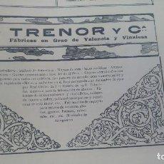 Coleccionismo de carteles: TRENOR Y Cª FABRICAS EN GRAO DE VALENCIA Y VINALESA GUANO SUPERFOSFATOS ABONOS HOJA AÑO 1920. Lote 195354157