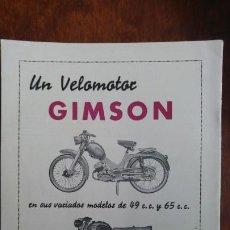 Coleccionismo de carteles: VELOMOTOR GIMSON MODELOS 49 C.C. Y 65 C.C. HOJA PUBLICIDAD AÑO 1962. Lote 195482181
