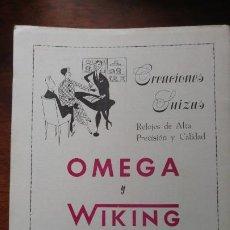 Coleccionismo de carteles: RELOJES OMEGA Y WIKING HOJA PUBLICIDAD AÑO 1962. Lote 195482445