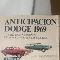 Coleccionismo de carteles: NUEVOS MODELOS DODGE 1969. HOJA PUBLICIDAD AÑO 1968. Lote 195512665