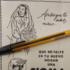 Coleccionismo de carteles: SIGMA MAQUINAS DE COSER ANTES QUE TE CASES...QUE NO TE FALTE.. Lote 195514325