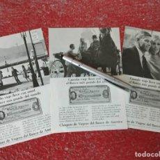 Coleccionismo de carteles: BANCO DE AMERICA CHEQUES DE VIAJERO, 3 ANUNCIOS.. Lote 195518251