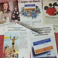 Coleccionismo de carteles: PUBLICIDAD DEL BANCO DE BILBAO. 5 ANUNCIOS.. Lote 195518728