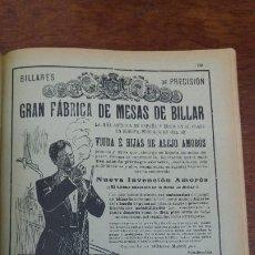 Coleccionismo de carteles: GRAN FABRICA DE MESAS DE BILLAR -VIUDA E HIJAS DE ALEJO AMOROS-BARCELONA BILLARES PRECISION AÑO 1921. Lote 195522081