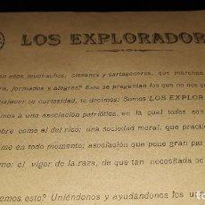 Coleccionismo de carteles: FOLLETO CARTA ANUNCIO EXPLORADORES DE ESPAÑA PROPAGANDA COMITÉ CARTAGENA MURCIA 1915 ELEVADO EMPEÑO. Lote 195548347