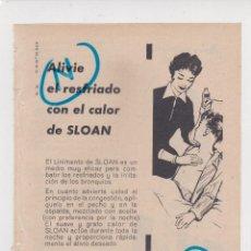 Colecionismo de cartazes: PUBLICIDAD T 1957. ANUNCIO LINIMENTO DE SLOAN. Lote 196316802