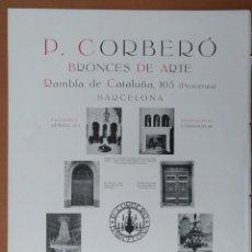 Coleccionismo de carteles: PUBLICIDAD P.CORBERO BRONCES RAMBLA CATALUÑA BARCELONA AYUNTAMIENTO. 1929. Lote 196743653