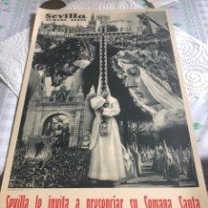 Coleccionismo de carteles: CARTEL DE LA SEMANA SANTA DE SEVILLA, AÑOS 40. Lote 197215906