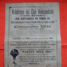 Collectionnisme d'affiches: COMPAÑÍA MILÁ, VELÓDROMO CLUB VELOCIPEDISTA REUS, CARTELITO FACSIMIL, 1895. Lote 197338985