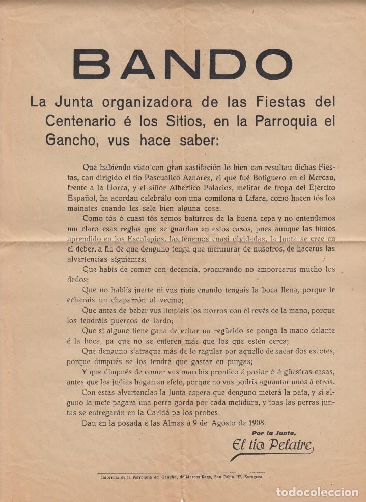 ZARAGOZA 1908 - BANDO FIESTAS CENTENARIO DE LOS SITIOS .-PARROQUIA DEL GANCHO - HUMOR- - EXCELENTE-- (Coleccionismo - Carteles Pequeño Formato)