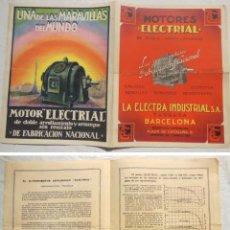 Coleccionismo de carteles: MOTORES ELECTRIAL. LA ELECTRA INDUSTRIAL SA. TARRASA. 1930. Lote 197546215
