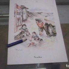 Coleccionismo de carteles: LAMINA PUBLICIDAD ROCHE.LOS NIÑOS DE ESPAÑA Y SUS JUEGOS DIBUJO ORTIZ VALIENTE ,PESCADORES. Lote 198312101