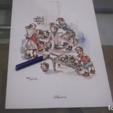Coleccionismo de carteles: LAMINA PUBLICIDAD ROCHE.LOS NIÑOS DE ESPAÑA Y SUS JUEGOS DIBUJO ORTIZ VALIENTE, EN LA ALFARERIA. Lote 198313485
