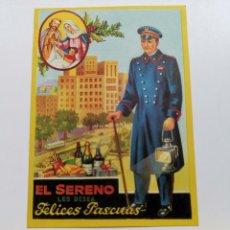 Coleccionismo de carteles: TARJETA DE FELICITACIÓN. EL SERENO LES DESEA FELICES PASCUAS. 1962. Lote 198382990