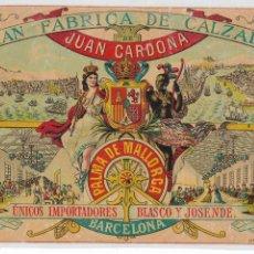 Coleccionismo de carteles: PALMA DE MALLORCA / BARCELONA - FÁBRICA DE CALZADO DE JUAN CARDONA - 21 X 13 CM.. Lote 198754261