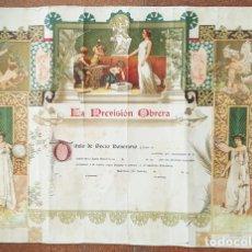 Coleccionismo de carteles: CURIOSO DIPLOMA TITULO SOCIO HONORARIO LA PREVISION OBRERA SIN USAR, BARCELONA SAN ANDRES, POSTER. Lote 198787180