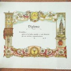 Coleccionismo de carteles: CURIOSO DIPLOMA MERITOS Y APROVECHAMIENTO SIN USAR 45 X 58 CM DE ¿COLEGIO RELIGIOSO?, MUY RARO. Lote 198789571