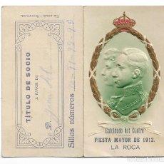 Coleccionismo de carteles: PROGRAMA DE BAILE - FIESTA MAYOR DE 1912 - LA ROCA DEL VALLÈS - ENTOLDADO - 6,1 X 11,3 CM. CERRADO. Lote 199066416