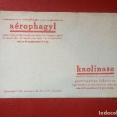 Coleccionismo de carteles: CARTEL PUBLICIDAD TRATAMIENTO AÉROPHAGYL KAOLINASE GASTROPATÍAS LABORATORIO TIÓ BARCELONA . Lote 199391157