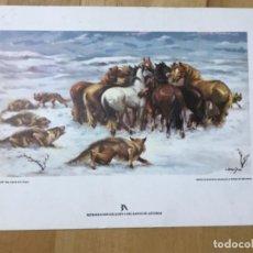 Coleccionismo de carteles: DIPTICO FELICITACION BANCO DE ASTURIAS 1979 EDICION LIM CON OBRA PINTOR ALFREDO ENGUIX CABALLOS ACOS. Lote 199429776