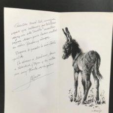 Coleccionismo de carteles: FELICITACION ILUSTRADA CON BURRO BURRITO DEL PINTOR ALFREDO ENGUIX NAVIDAD 2002 CHRITMAS. Lote 199431916
