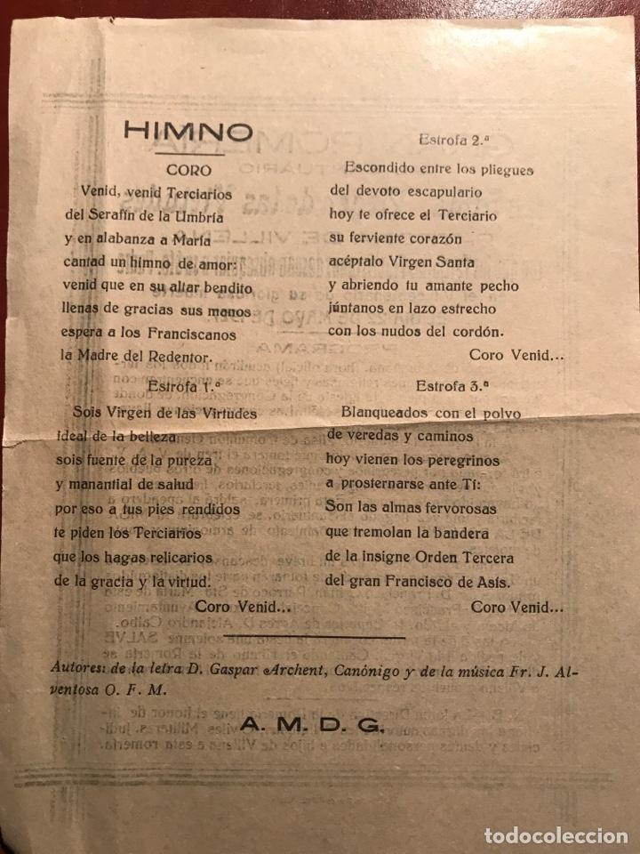 Coleccionismo de carteles: Villena. Romería Virgen. 1927 - Foto 2 - 199719281