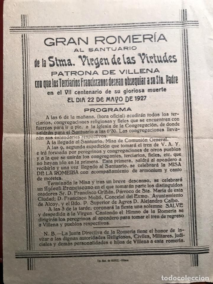 VILLENA. ROMERÍA VIRGEN. 1927 (Coleccionismo - Carteles Pequeño Formato)