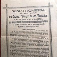 Coleccionismo de carteles: VILLENA. ROMERÍA VIRGEN. 1927. Lote 199719281