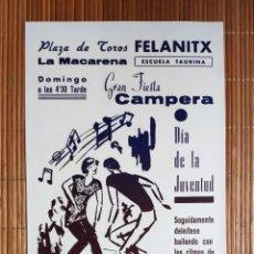 Coleccionismo de carteles: CARTEL PLAZA TOROS FELANITX LA MACARENA - ESCUELA TAURINA - 1966 - GRAN FIESTA CAMPERA. Lote 200000656