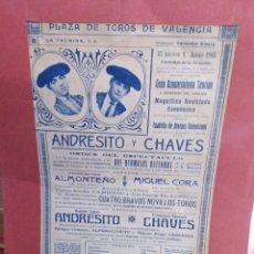 Coleccionismo de carteles: CARTEL TAURINO ANTIGUO DE LA PLAZA DE TOROS DE VALENCIA AÑO 1916. Lote 200237796