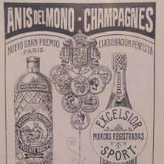 Collezionismo di affissi: ANIS DEL MONO CHAMPAGNES MARCAS EXCELSIOR SPORT VICENTE BOSCH BADALONA HOJA REVISTA AÑO 1902. Lote 200583006