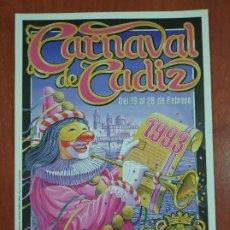 Coleccionismo de carteles: PEQUEÑO CÁRTEL DEL CARNAVAL DE CÁDIZ AÑO 1993. COAC.. Lote 245476660