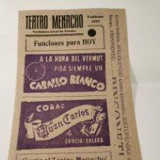 Coleccionismo de carteles: TEATRO ME NACHO. BADAJOZ 1942. PROGRAMA PARA EL DÍA. MUY RARO. Lote 201554203